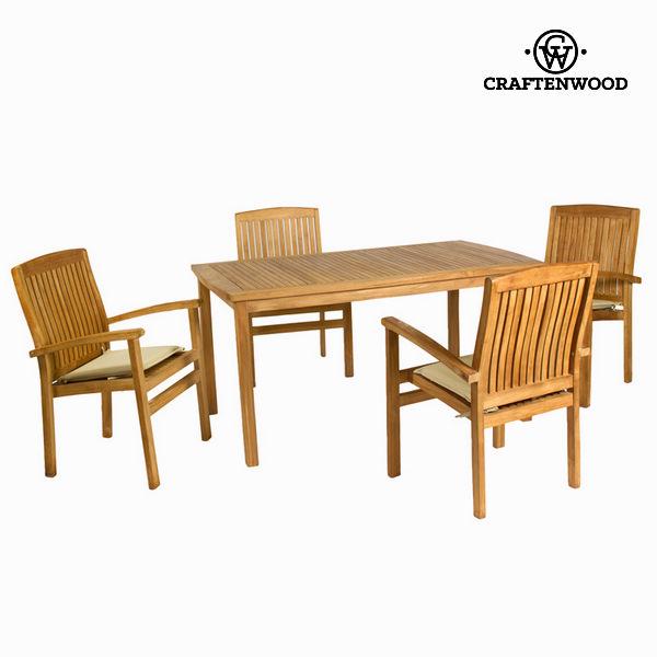 Asztal Készlet 4 Székkel Teakfa (150 x 90 x 75 cm) by Craftenwood