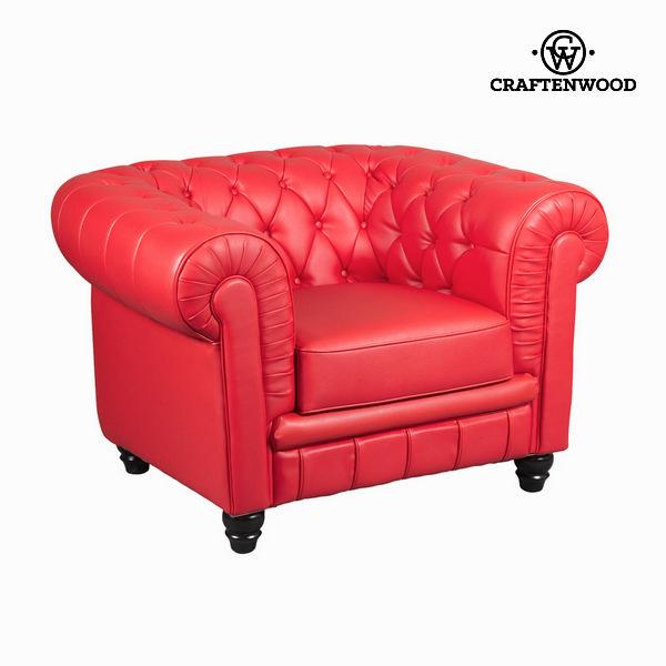 Rdeča zofa z 1 sedežem capitoné by Craften Wood
