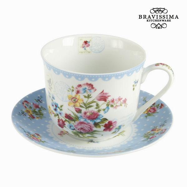 Tasse avec soucoupe en porcelaine jardin - Collection Kitchen's Deco by Bravissima Kitchen