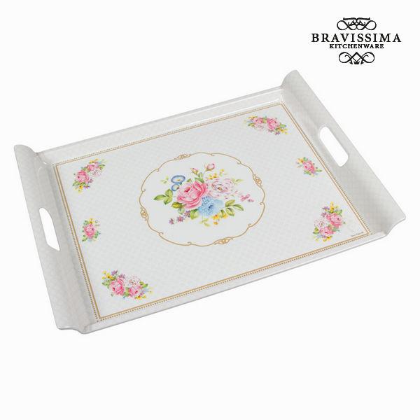 Plateau avec poignées bouquet blanc - Collection Kitchen's Deco by Bravissima Kitchen