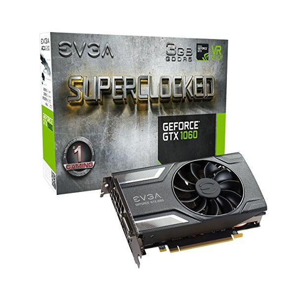 Tarjeta Gráfica Gaming EVGA 03G-P4-6162-KR GTX 1060 SC ACX 2.0 3 GB|DDR5