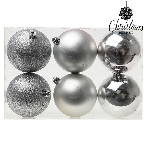 Karácsonyi díszek Christmas Planet 8121 8 cm (6 uds) Ezüst színű