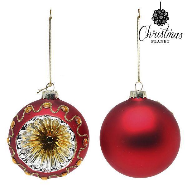 Karácsonyi díszek Christmas Planet 1662 8 cm (2 uds) Kristály Piros