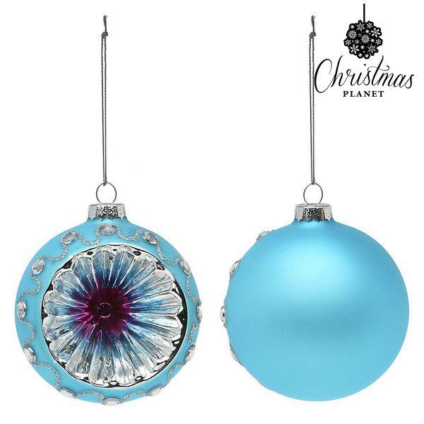 Karácsonyi díszek Christmas Planet 1693 8 cm (2 uds) Kristály Kék