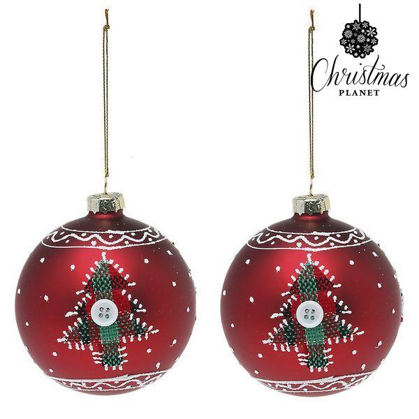 Karácsonyi díszek Christmas Planet 1785 8 cm (2 uds) Kristály Piros