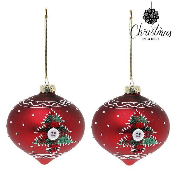Karácsonyi díszek Christmas Planet 1792 8 cm (2 uds) Kristály Piros