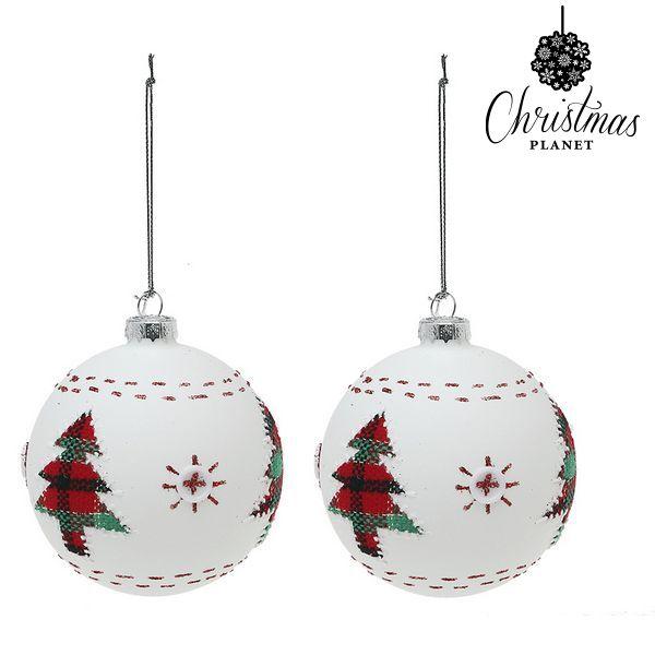 Karácsonyi díszek Christmas Planet 1860 8 cm (2 uds) Kristály Fehér