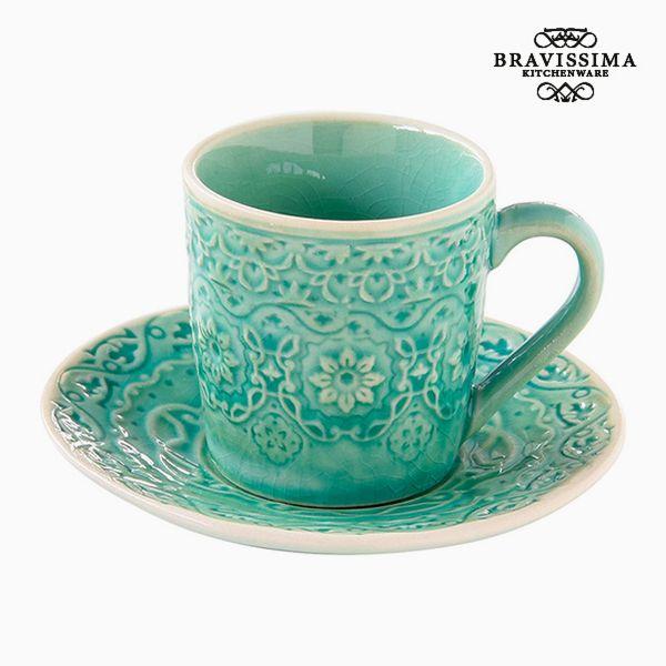 Csésze Tányérral Porcelán Zöld by Bravissima Kitchen