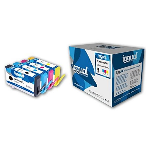 Cartucho de Tinta Original (pack de 4) iggual HP 364XL Box-Economy Cyan Magena Negro Amarillo