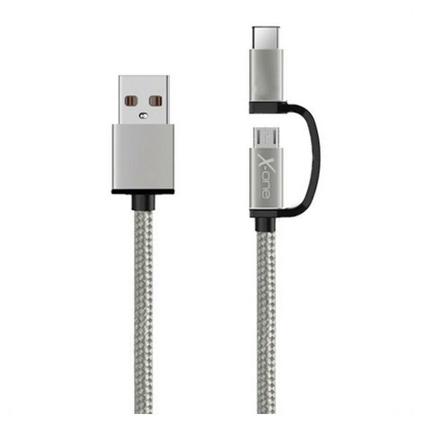 Cable USB a Micro USB y USB C Ref. 101141   Plata