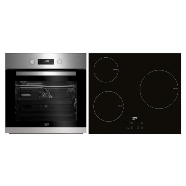 Sütő és Üvegkerámia Készlet BEKO BSE22341X 65 L Touch Control 5900W Rozsdamentes acél Fekete