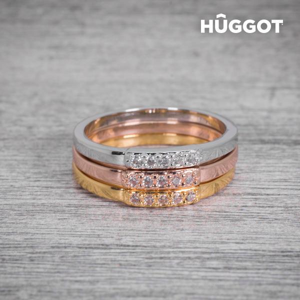 Hûggot 18 karátos aranyozott háromrészes gyűrű