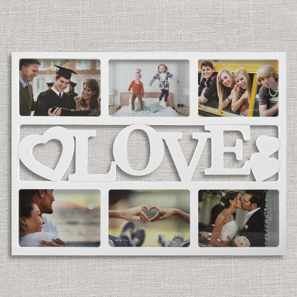 Love Fényképkeret Szívekkel (6 fényképhez)