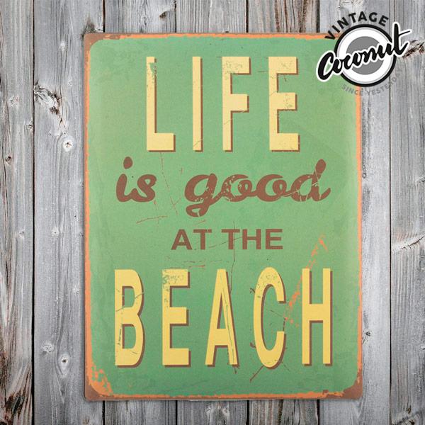 Vintage Kovinski Napis Beach