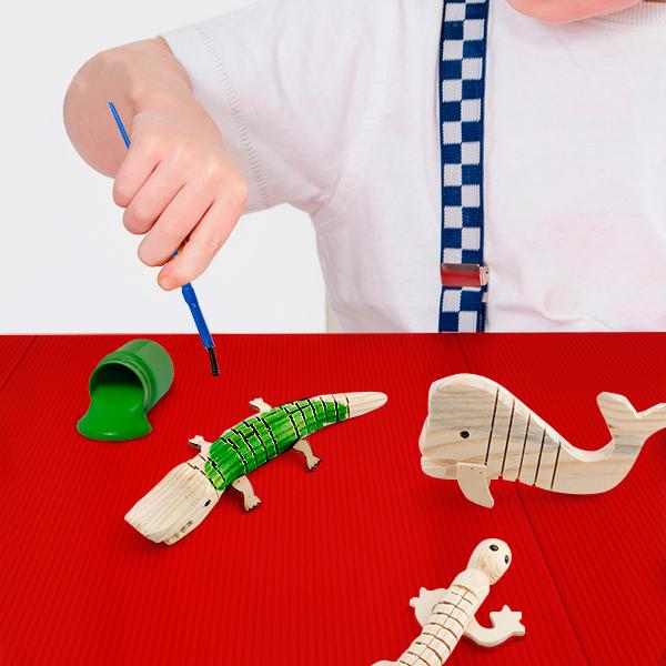 Junior Knows Animale di legno in 3D da Dipingere (5 pezzi)