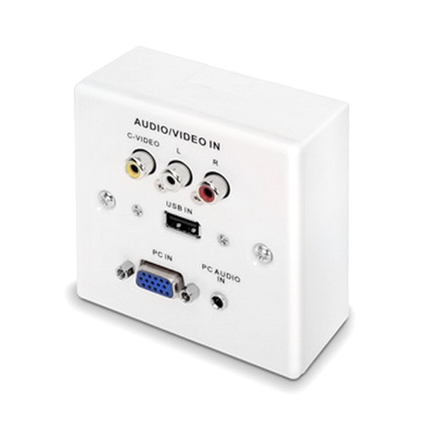 STENSKA PLOŠČA VGA+JACK3.5+USB2.0+3xRCA Bela