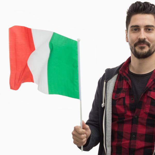 Olasz Zászló Rúddal (46 x 30 cm)