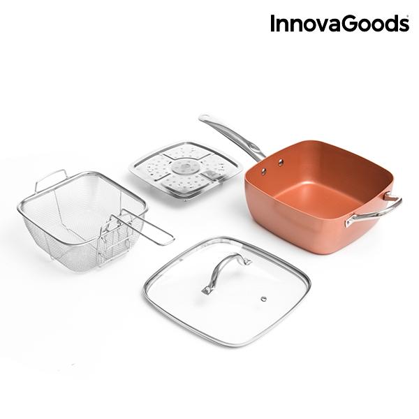 InnovaGoods Copper 5 az 1-ben Többfunkciós Kerámia Serpenyő Készlet (4 Darabos)