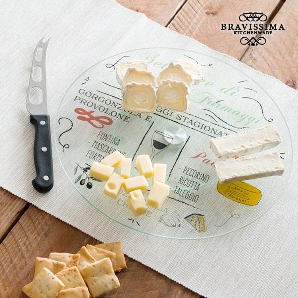 Bandeja de Vidrio Giratoria con Cuchillo para Quesos Bravissima Kitchen (1)