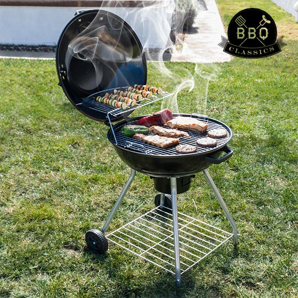Black BBQ Classics Faszenes Barbecue Sütő Tetővel és Kerekekkel