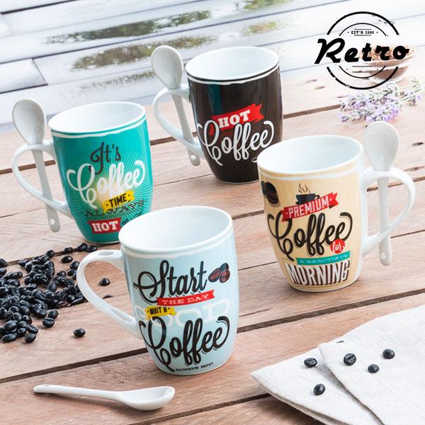Retro Coffee Csészék Kiskanállal (4 darab)