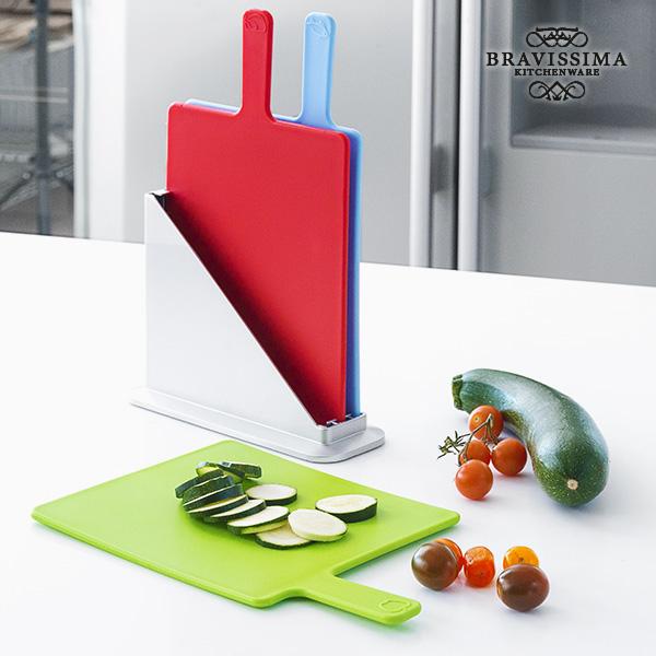 Bravissima Kitchen Vágódeszka Készlet Tartóval (4 db)
