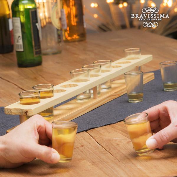 Bicchieri da Shot con Supporto in Legno Bravissima Kitchen (11 pezzi) 7569000736096  02_V0300285