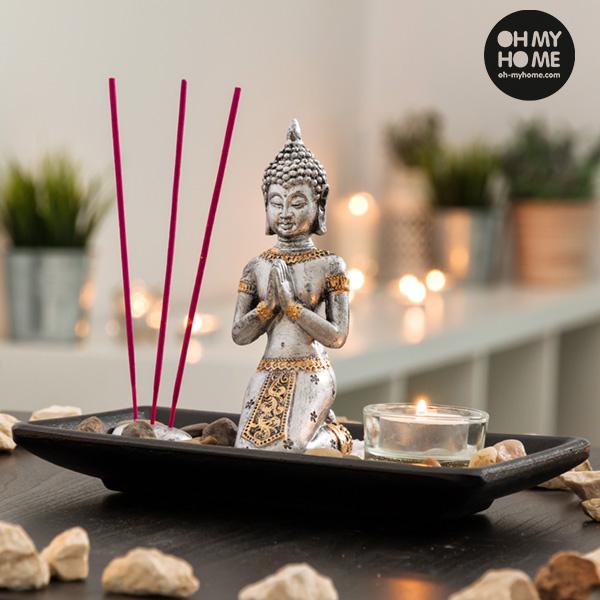 Oh My Home Dekoratív Buddha Szett Gyertyával és Füstölővel (9 részes)