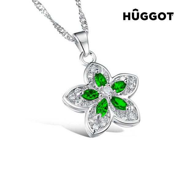 Green Flower Hûggot acél foglalatú nyakék cirkóniakövekkel (45 cm)
