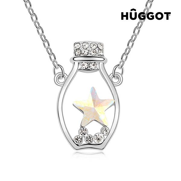 Bottle Hûggot ródiumozott nyakék cirkóniakövekkel  és Swarovski® kristályokkal (45 cm)