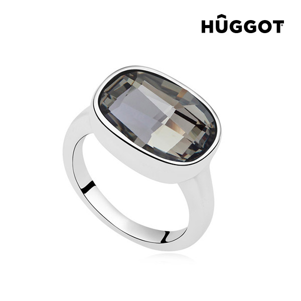 Rodio Night Hûggot ródiumozott gyűrű Swarovski® kristályokkal