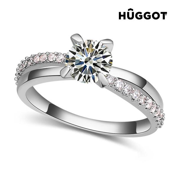 You & Me Hûggot ródiumozott gyűrű cirkóniakövekkel