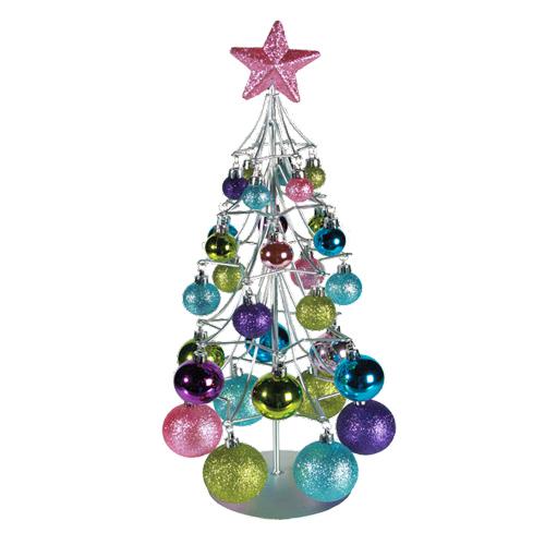 Arbol de Navidad Plateado con Bolas de Colores H2500199