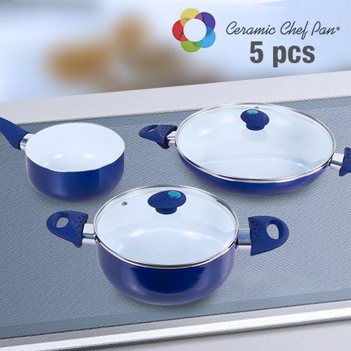 Bateria de Cocina Ceramic Chef Pan (5 piezas) Azul Marino B1015139