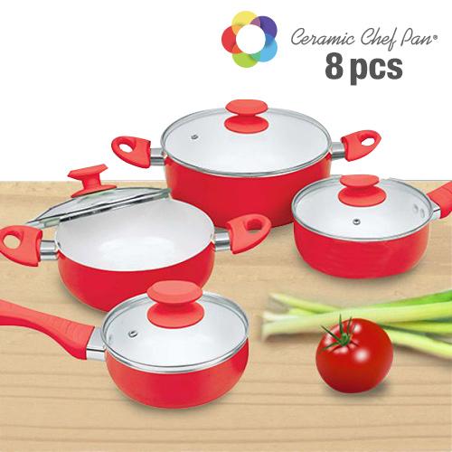 Bateria de Cocina Ceramic Chef Pan (8 piezas) Morado B1015136