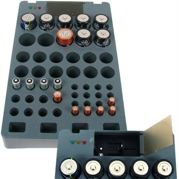 Stojalo za baterije za ponovno polnjenje in naprava za preverjanje napolnjenosti baterije