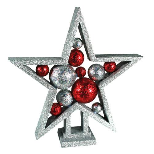 Estrella de Navidad con Bolas y Purpurina H2500200