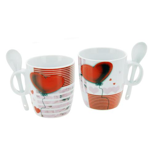 Tazas Romanticas con Cucharillas (set de 2) H2000133