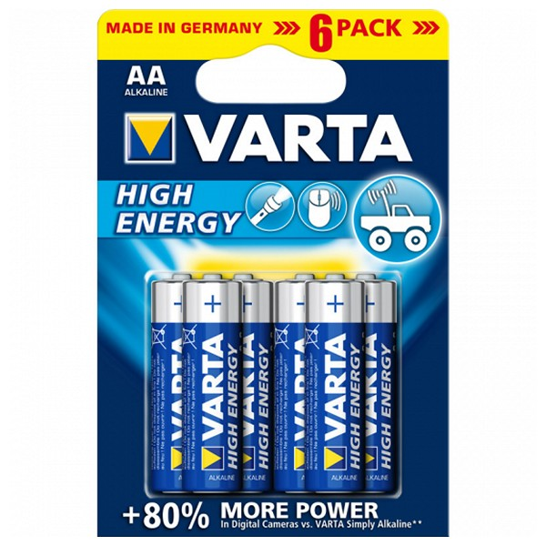 Batteria Alcalina Varta 1,5 V AA High Energy (6 pcs) Azzurro