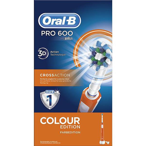 Cepillo de Dientes Eléctrico Oral-B 600 Pro Blanco Naranja (4)
