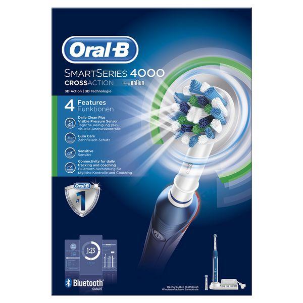 Cepillo de Dientes Eléctrico Oral-B Pro 4000 SmartSeries Azul Blanco (3)