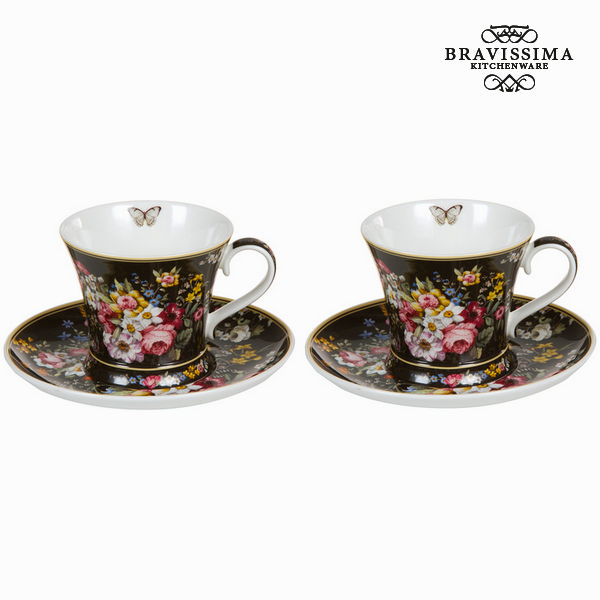 Set 2 tazze c/piatto bloom blac - Kitchen's Deco Collezione by Bravissima Kitchen
