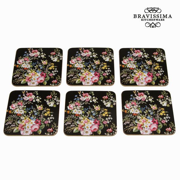 Set 6 posavasos bloom black - Colección Kitchen's Deco by Bravissima Kitchen