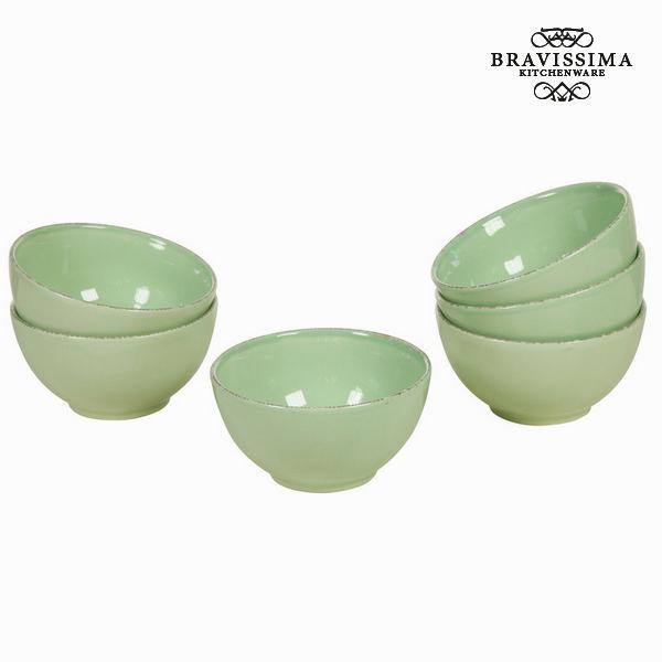 Cuenco juego 6 loza verde - Colección Kitchen's Deco by Bravissima Kitchen