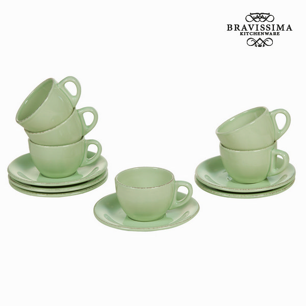 Set di Tazze e Piatti Servizio di piatti Verde (6 pcs) - Kitchen's Deco Collezione by Bravissima Kitchen