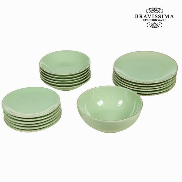 Vajilla 19 piezas de loza verd - Colección Kitchen's Deco by Bravissima Kitchen