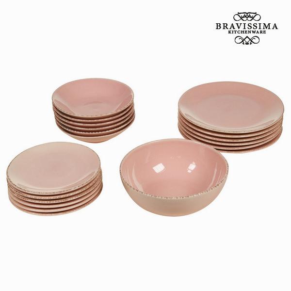 Vajilla 19 piezas de loza rosa - Colección Kitchen's Deco by Bravissima Kitchen