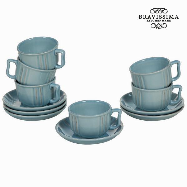 Set di Tazze e Piatti Servizio di piatti Azzurro (6 pcs) - Kitchen's Deco Collezione by Bravissima Kitchen
