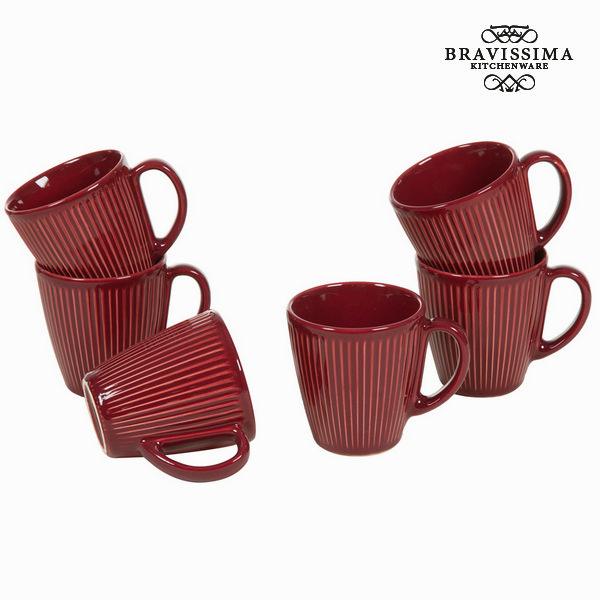Jarra con asa juego 6 burdeos - Colección Kitchen's Deco by Bravissima Kitchen