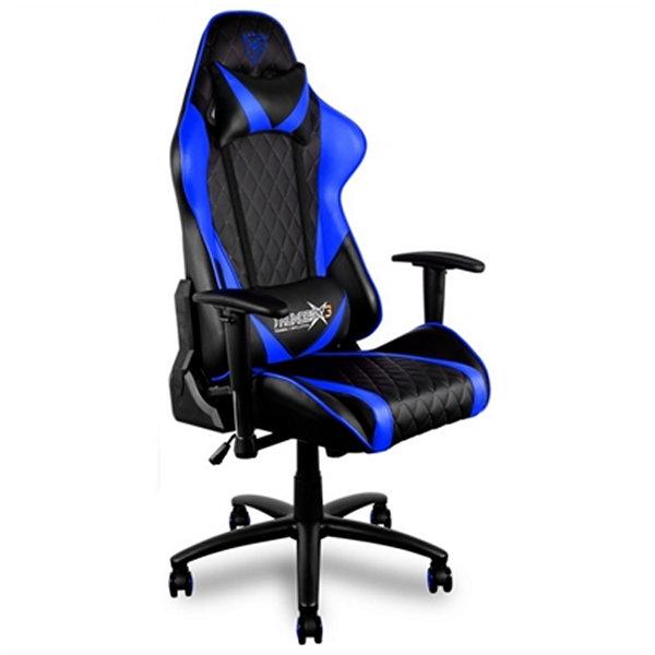 Sedia Gaming Tacens THUNDERX3 TGC15BB Metallo PVC Nero Azzurro